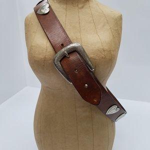 Vintage RAUF CO Leather belt w/etched hearts